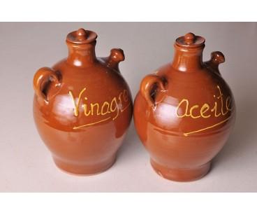 Juego de aceitera y vinagrera artesanas