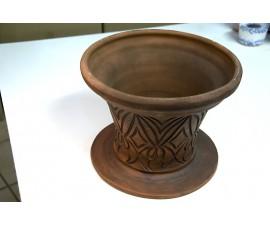 Maceta decoración marrón con grabados